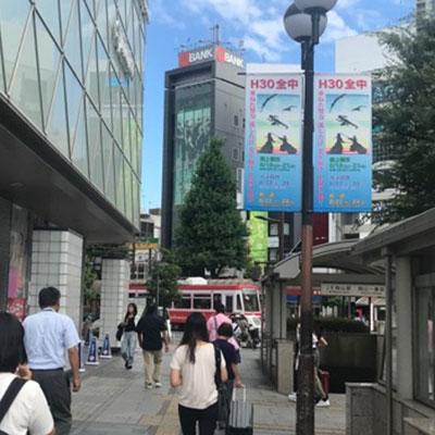 JR岡山駅 地上から 直進し桃太郎通りの横断歩道を渡ります。