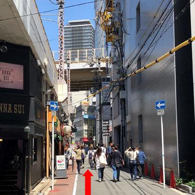 御堂筋線梅田駅 阪急ファイブアネックスビルとANNA SUIさんの間の道へ